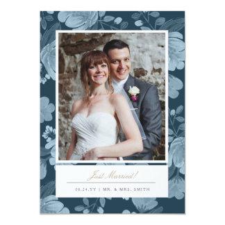 Navy Floral Wedding Announcement