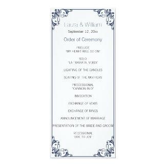 Navy Flourish Wedding Program 10 Cm X 24 Cm Invitation Card