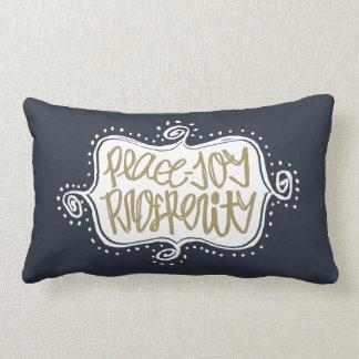 Navy Flourishes hand lettered Peace Joy Prosperity Lumbar Pillow