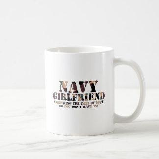 Navy Girlfriend Answering Call Basic White Mug