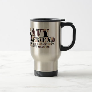 Navy Girlfriend Answering Call Travel Mug