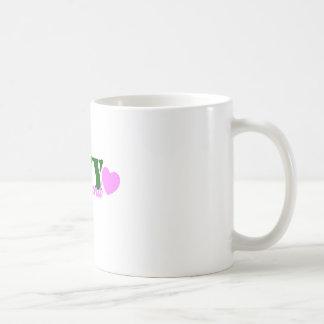 Navy Girlfriend Green PInk Basic White Mug