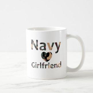 Navy Girlfriend Heart Camo Basic White Mug