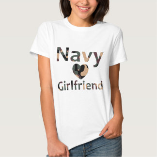 Navy Girlfriend Heart Camo T-shirts