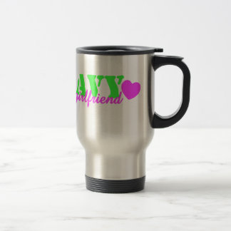 Navy Girlfriend Lime Green Stainless Steel Travel Mug