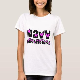 Navy Girlfriend Pink Hearts T-Shirt