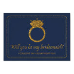 Navy & Gold Glitter | Will You Be My Bridesmaid? 13 Cm X 18 Cm Invitation Card