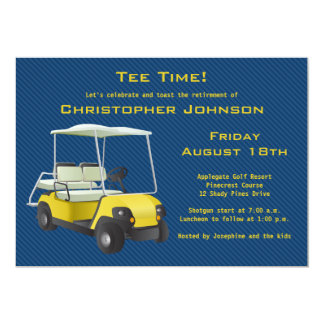 Navy Gold Golf Cart Retirement Party Invitation