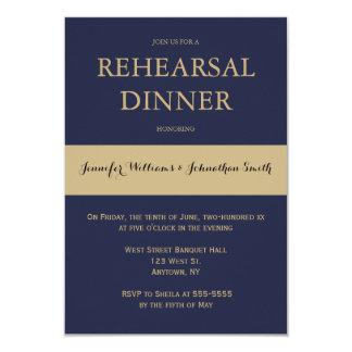 Navy & gold modern rehearsal dinner invitations