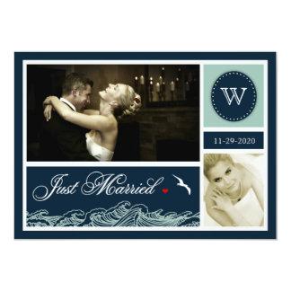 Navy Just Married Nautical Wedding Photo Cards 13 Cm X 18 Cm Invitation Card