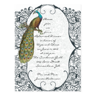 Navy Love Bird Damask Rehearsal Dinner Invitations Postcard