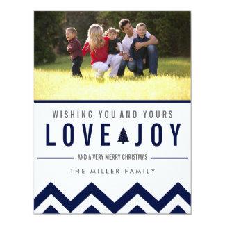 Navy Love & Joy Holiday Photo Christmas Cards