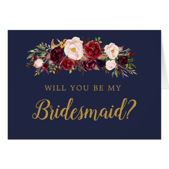 Navy Marsala Floral Will You Be My Bridesmaid Card