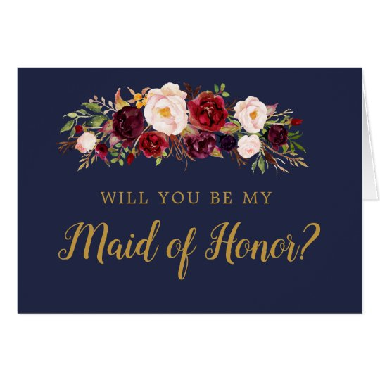Navy Marsala Floral Will You Be My Maid of Honour Card