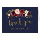 Navy Marsala FloralAutumn Wedding Thank You Card
