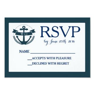 Navy Nautical Anchor Wedding RSVP Card