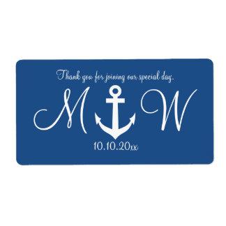 Navy nautical anchor wedding water bottle labels