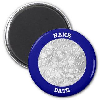 Navy Personalised Round Photo Border Magnet