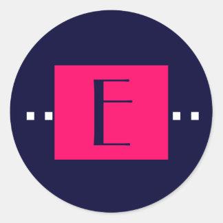Navy Pink Monogram E Wedding Stickers