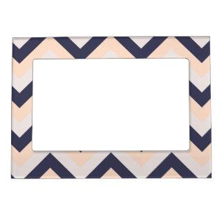 Navy Pink Wedding Colors Modern Chevron Pattern Magnetic Frame