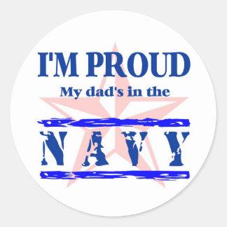 navy proud - dad round sticker