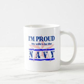 navy proud - wife basic white mug