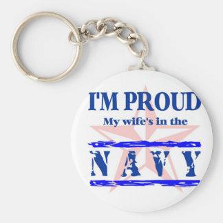 navy proud - wife keychain