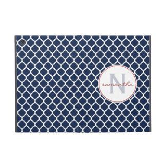 Navy Quatrefoil Monogram iPad Mini Cover