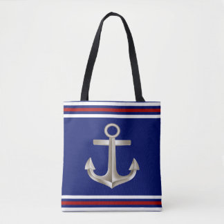 Navy Red Anchor Tote Bag