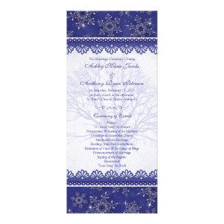 Navy Royal Blue Snowflake Winter Wedding Program Custom Rack Card
