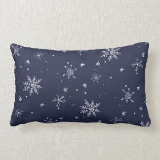 Navy Snowflake Christmas Lumbar Cushion