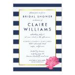 Navy Stripe & Pink Peony Bridal Shower Invitations