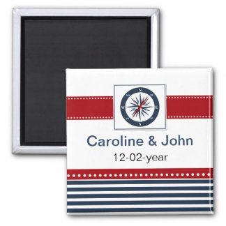 navy stripes compass nautical save the date fridge magnet
