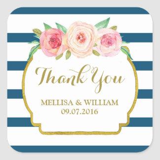 Wedding Gift Tags Nz : Navy Stripes Gold Pink Floral Wedding Favor Tags Square Sticker