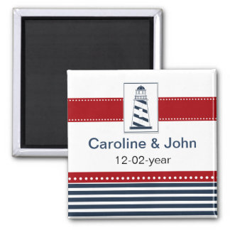 navy stripes,lighthouse, nautical save the date refrigerator magnets