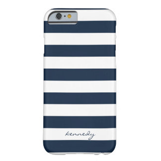 Navy Stripes Pattern Personalized iPhone 6 case Barely There iPhone 6 Case