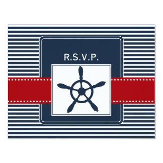 navy stripes, rudder, nautical wedding rsvp invites