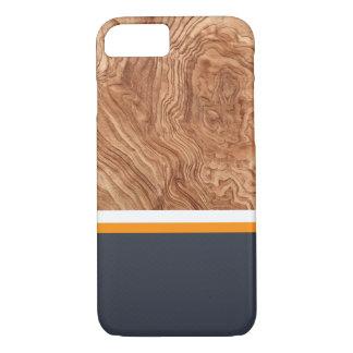 Navy Tangerine & White Wood iPhone 7 Case