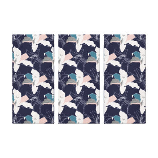 Navy Tropical Patterned Canvas