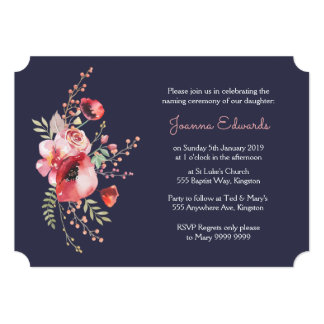 Navy Watercolor Poppies Naming Ceremony Invite