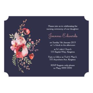 Navy Watercolor Poppies Naming Ceremony Invite