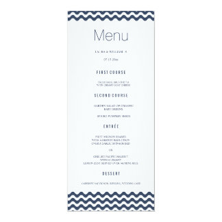 Navy Wave Chevron Wedding Dinner Menu Cards 10 Cm X 24 Cm Invitation Card