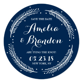Navy Whimsical Winter Wreath Save the Date Card 13 Cm X 13 Cm Square Invitation Card