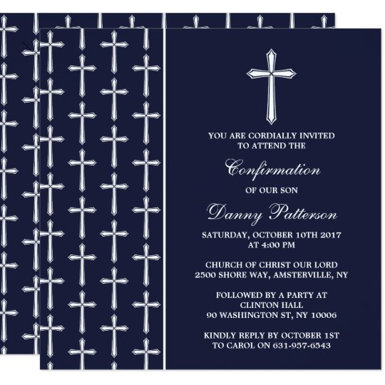 Navy & White Cross Holy Communion Or Confirmation Card
