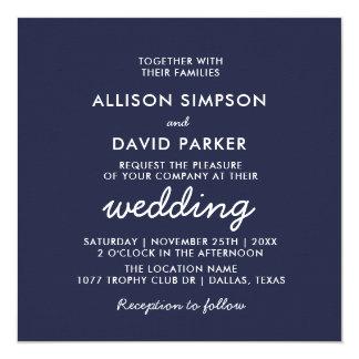 Navy White Modern Minimalist Wedding Invitation