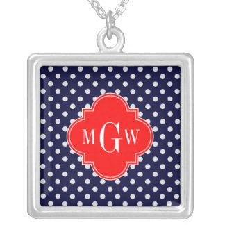 Navy White Polka Dot Red Quatrefoil 3 Monogram Silver Plated Necklace