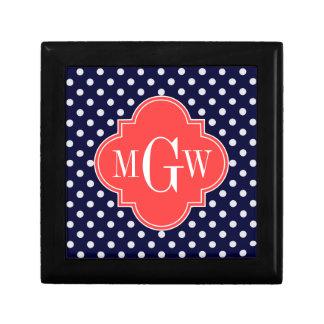 Navy White Polka Dots Coral Quatrefoil 3 Monogram Gift Box