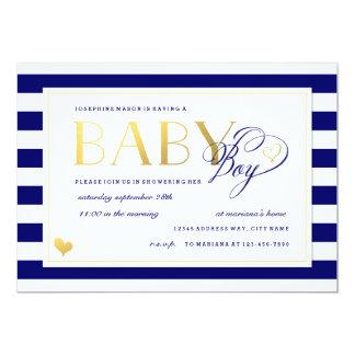 Navy & White Stripe Baby Boy Shower Gold Accents Card