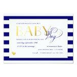 Navy & White Stripe Baby Boy Shower Gold Accents 13 Cm X 18 Cm Invitation Card