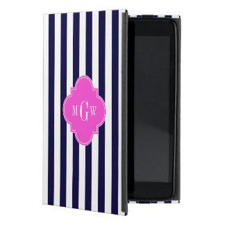 Navy White Stripe Hot Pink Quatrefoil 3 Monogram Case For iPad Mini